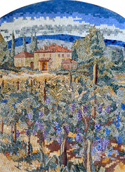 Italian Tuscan vineyard Mosaic mural with arch