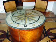 Compass rose mosaic table