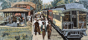Vintage train station recreated from clients vintage postcard  mosaic