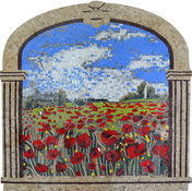 .Tuscan .Field of Poppies Mosaic  with stone frame