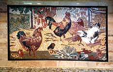 Rooster Barnyard mosaic kitchen  installation.. closeup