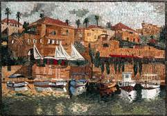 BOATS HOUSES WATER WATER LANDSCAPE MOSAIC  GREEK MURAL
