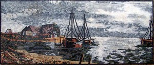 WATER, BOAT LANDSCAPE  BEACH MOSAIC MURAL