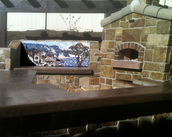 Outdoor pizza oven mosaic tuscan landscape mural