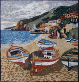 COLORFUL BOATS ON BEACH mosaic mural  SAND AND WATER MOSAIC MURAL