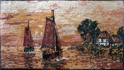 boats and water landscapes mosaic murals