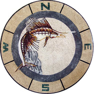 Sport fishing mosaic medallion