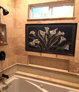 Calla Lily Mosaic in bathroom installation