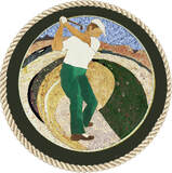 AT Golfer medallion mosaic