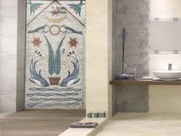 shower scroll work  mosaic installation