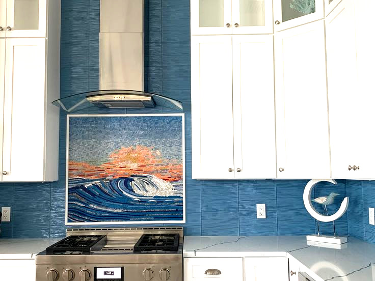 Waterscape with sunset mosaic kitchen installation